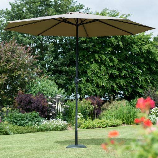garden parasol taupe with base