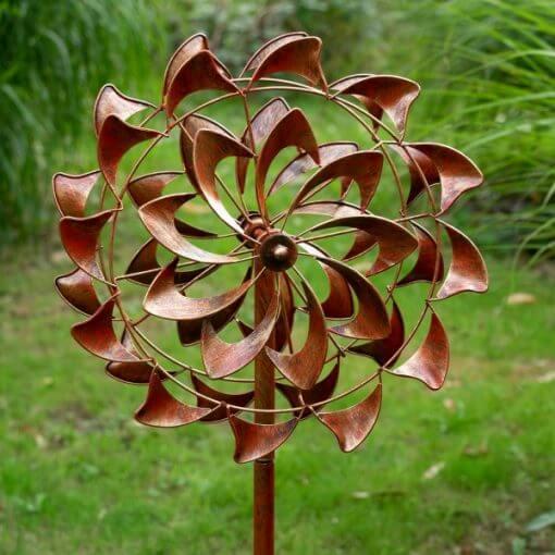 Garden Wind Sculpture Double Swirl